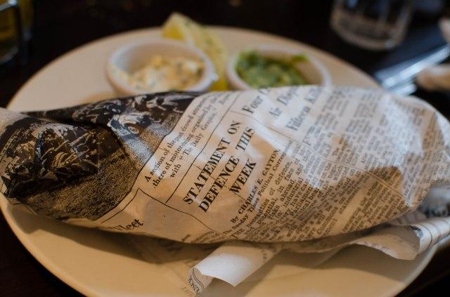 Fish and chips dans son joli papier
